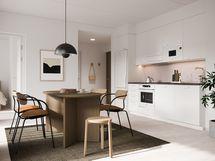 Visualisointikuvassa taiteilijan näkemys 12. kerroksen 62 m2:n kodin keittiöstä