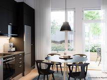 Luonnoskuva asunnon B43 keittiöstä