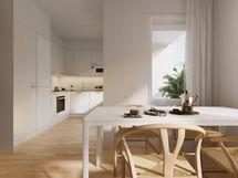 Visualisointikuvassa taiteilijan näkemys 43,5 m2 asunnosta.