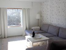 Olohuoneessa on vaaleat pinnat lattiasta kattoon.