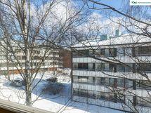 Olohuoneen isoista ikkunoista on puistomaisen väljät näkymät.