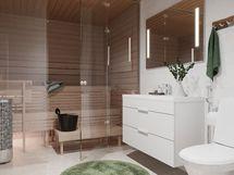 Asunnon kylpyhuone: Saunassa upea lasiseinä ja lattialla vapaasti seisova pilarikiuas. Leveä allaskaluste ja valopeili. Seinälaatta 30x60. Upea ja laadukas kokonaisuus!