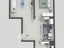 Kaksion, 58 m2, pohjakuva