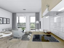 57,5 m² asunnon keittiöstä olohuoneeseen päin, valkoinen sisustusmaailma