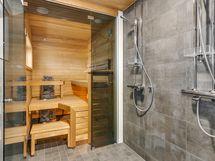 Kattoterassin sauna-ja pesutilat
