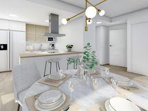 80,5 m² asunnon ruokailutilasta keittiöön, valkoinen sisustusmaailma