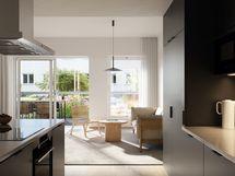 Visualisointikuvassa taiteilijan näkemys 1. kerroksen 91,5 m2 asunnosta A6.