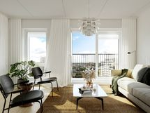 Visualisointikuvassa taiteilijan näkemys upeasta asunnon E118 (83.0 m2) olohuoneesta ja sen etelään avautuvista Aurajokimaisemista.