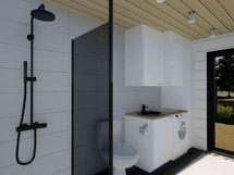 Kodinhoitohuone ja kylpyhuone (havainnekuva)