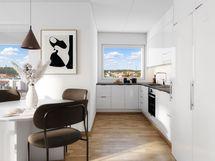 Visualisointikuvassa taiteilijan näkemys 14. kerroksen 74 m2 asunnosta 78.