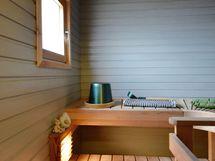 Sauna, lauteet uusittu, seinät käsitelty