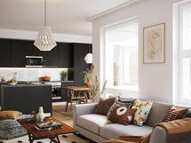 Visualisointikuvassa taiteilijan näkemys Vantaan Wiljan 54 m2 kodista kaksiopohjalla.