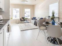 keittiö/olohuone yhtenäistä tilaa