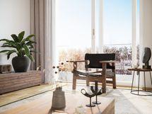 Visualisointikuvassa taiteilijan näkemys 63,5 m2 asunnosta.