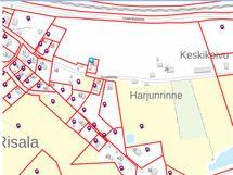 Kuvassa alueen kiinteistöjen alueet