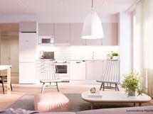 Luonnoskuva asunnon B82 keittiöstä
