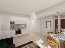 Visualisointi vastaavan asunnon keittiöstä skandinaavisella sisustustyylillä