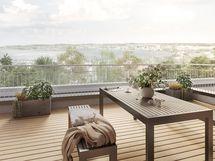 Talon ullakolla on asukkaiden yhteinen saunaosasto, jonka kattoterassilta aukeaa näköala Jyväsjärvelle. Viitteellinen kuva.
