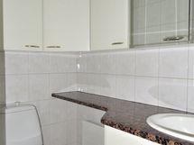 Erillinen wc, kivinen laskutaso + upotetut halogeenilamput