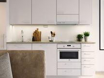 Visualisointikuvassa taiteilijan näkemys kaksion keittiöstä. Kuvassa käytetty lisähintaisia materiaalivalintoja.