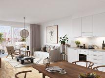 Visualisointikuvassa taiteilijan näkemys 90,0 m2 asunnosta.