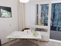 Mallikuvat ovat vastaavasta huoneistosta 2. kerroksesta. A55 näkymät ovat esteettömät