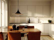 Visualisointikuva 64,0 m2 asunnon keittiöstä.