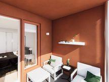 Visualisointi vastaavan asunnon parvekkeesta