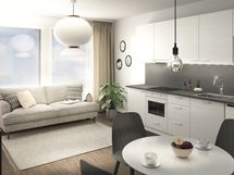 Kaikkiin koteihin on valittu laadukkaat pintamateriaalit ja kodinkoneet, lattiat ovat kestävää vinyyliä. Viitteellinen kuva.