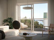 Visualisointikuvassa taiteilijan näkemys 5. kerroksen 81,5 m2 asunnosta A27.