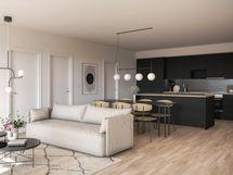 Olohuone/keittiö (fotorealistinen kuva)