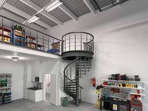 Havainnekuva 80 m2:n parvellisesta varastotilasta.