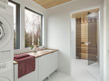 Havainnekuva 96 m² asunnon kodinhoitohuoneesta