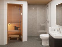 Viitteellinen kuva 74,0 m2 asunnon saunasta.