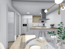 80,5 m² asunnon ruokailutilasta keittiöön päin, valkoinen sisustusmaailma