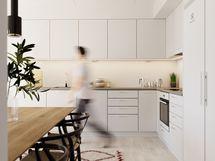 Visualisointikuvassa taiteilijan näkemys 68 m2 asunnon keittiöstä.