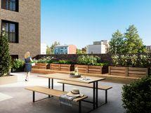 Visualisointikuvassa taiteilijan näkemys 3. kerroksen kattopihalta.