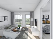 57,5 m² asunnon olohuone, valkoinen sisustusmaailma