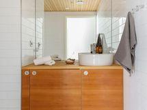 Erillisessä wc:ssä kaappissa pesukoneelle tila