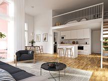 Osassa ylimmän kerroksen asuinnoissa on tavallista suurempi huonekorkeus sekä lisätilaa tuova tilava parvi.