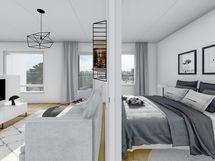 43 m² asunnon olohuone ja makuuhuone, musta sisustusmaailma