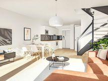 Havainnekuva 78 m² asunnon alakerrasta