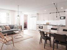 Valitse mieleisesi keittiönkaappien ovet, tasot, laatat, tehosteseinät ja lattiat veloituksetta Laptin omasta mallistosta. Viitteellinen kuva.