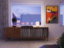 Visualisointikuvassa taiteilijan näkemys 6.kerroksen 47 m2 kodin olohuoneesta