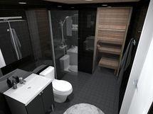 80,5 m² asunnon kylpyhuone, musta sisustusmaailma