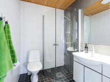 Erillisessä wc:stä löytyy myös suihku