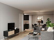 Viitteellinen kuva asunnosta A22, 4h+kt+s, 78,5 m2