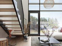 Visualisointikuvassa taiteilijan näkemys naapuriyhtiön, Erinan loft-asunnosta.