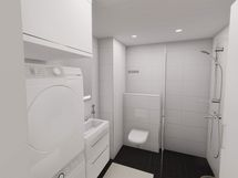 Visualisointi vastaavan asunnon kylpyhuoneesta