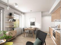 As. A32 3h+kt 51,0 m2, sisustustyylinä Wood (vaalea parketti, puun sävyiset kaapistot)